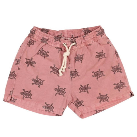 buho turtles hans swim pants color brick with turtles