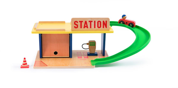 moulin roty gas station wooden red green vintage