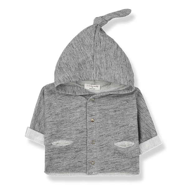 riu jacket grey melange with long hoodie