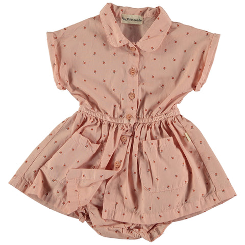 peach dress and bloomers from my little cozmo with little fruit print