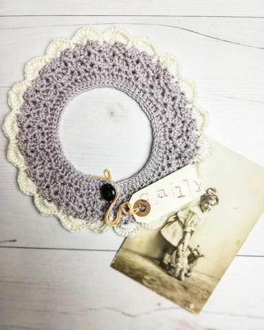 This beautiful crochet collar is the ultimate accessory. Timeless and perfect as a new born baby gift. handmade