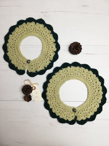 tirol crochet collar in green with vintage button
