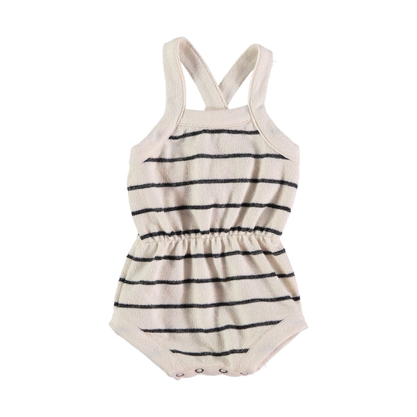 holly romper from buho white with navy stripes