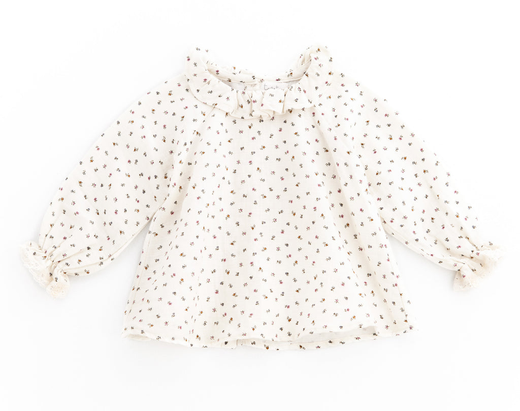 tocoto vintage white with flowers blouse shirt romantic