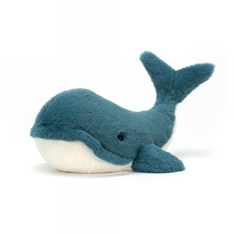 wally whale jellycat blue and white