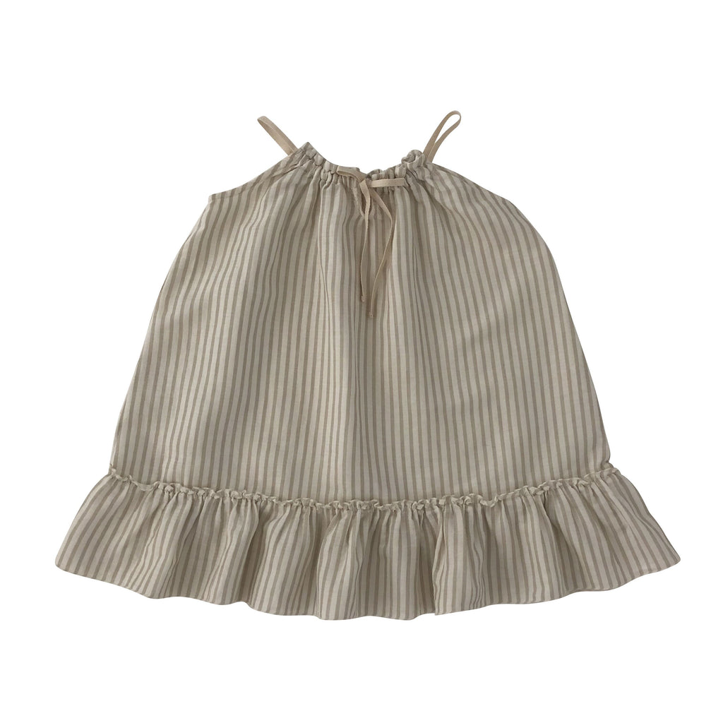 liilu organic stripes sand white dress cara