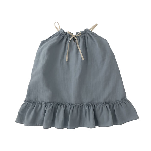 cara dress blue liilu organic with white straps