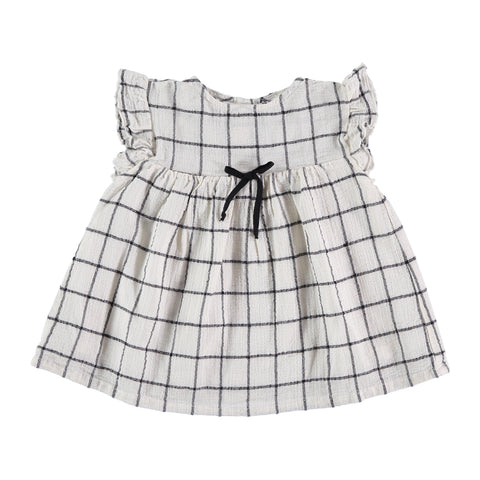 Georgine dress, romantic dress from Buho Barcelona with check print. available at konfetti kids