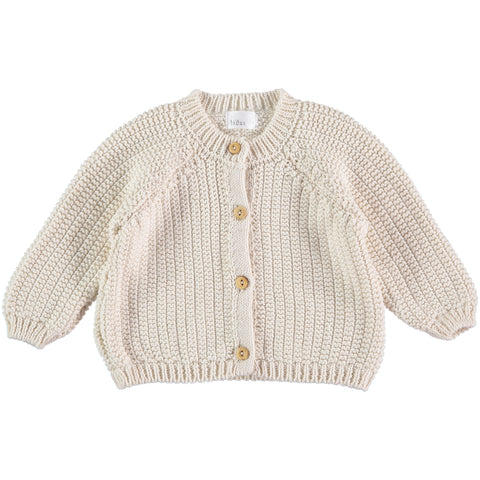 Lois Cardigan from Buho in color ecru, Barcelona, made in Spain, available at konfetti kids