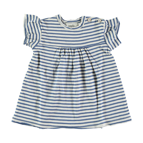 mimi dress from buho barcelona, stripes blue and white, made in spain 100% Cotton available at konfetti kids store for kids in barcelona