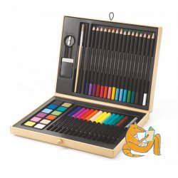 color box from djeco pencils and watercolors boite de couleurs