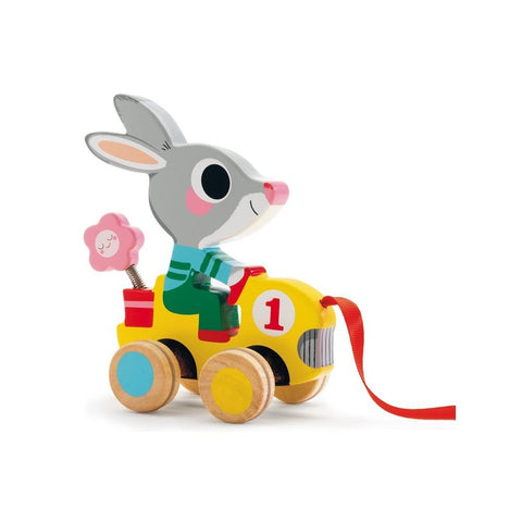roulapic wooden pull along from djeco bunny rabbit conejo