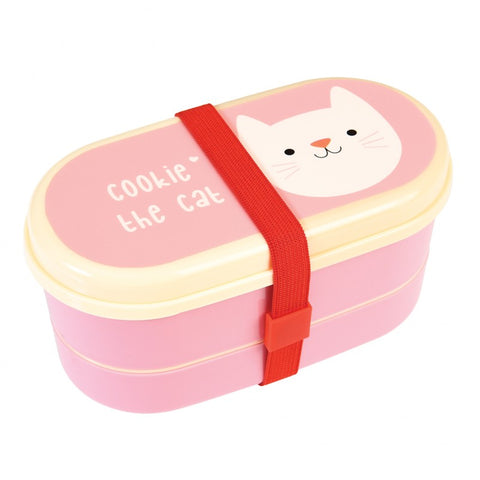 cookie the cat bento box pink and white with red elastic band from rex london