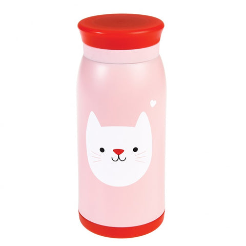 cat bottle pink and red stainless steel rex london