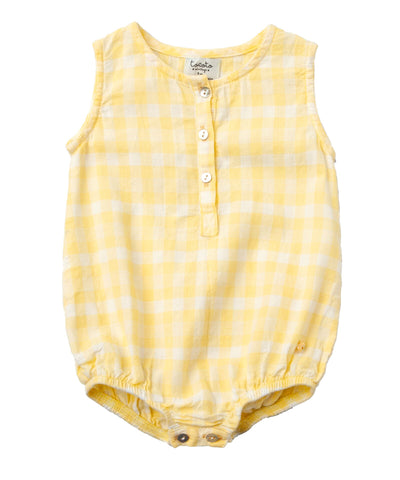 yellow vichy squares romper from tocoto vintage