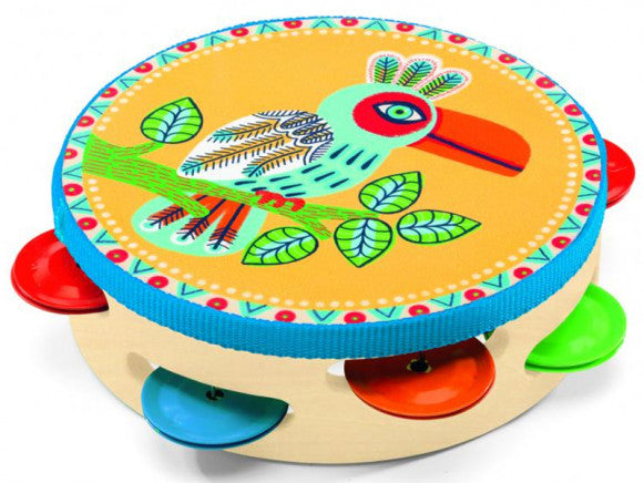 tambourine djeco colourful bird music kids