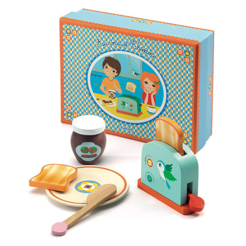 from Djeco aurora et Theodore breakfast set, pretending game at konfetti kids barcelona