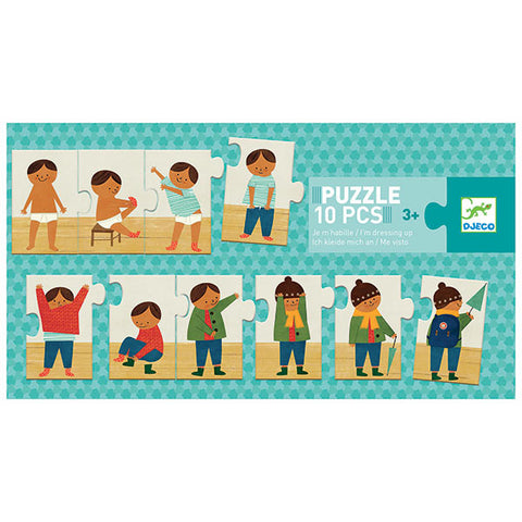 puzzle from djeco I'm dressing up 10 pieces light blue