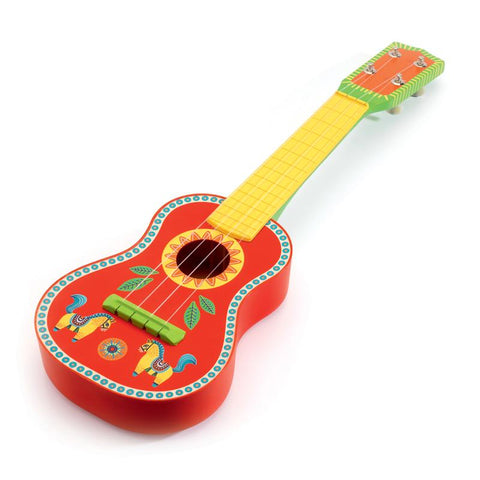 animambo guitar ukulele red and yellow djeco