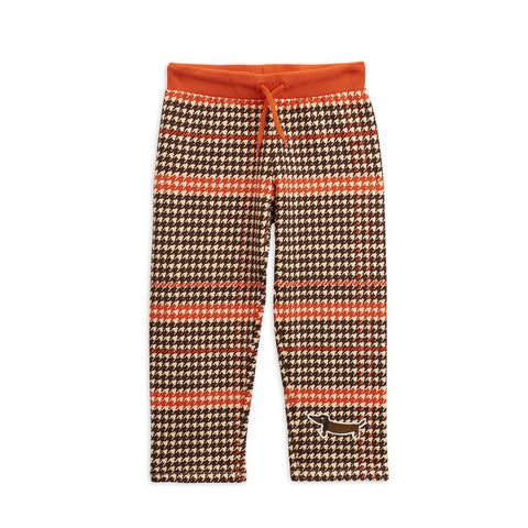 HOUNDSTOOTH SWEATPANTS dog brown and red  mini rodini blah blah blah