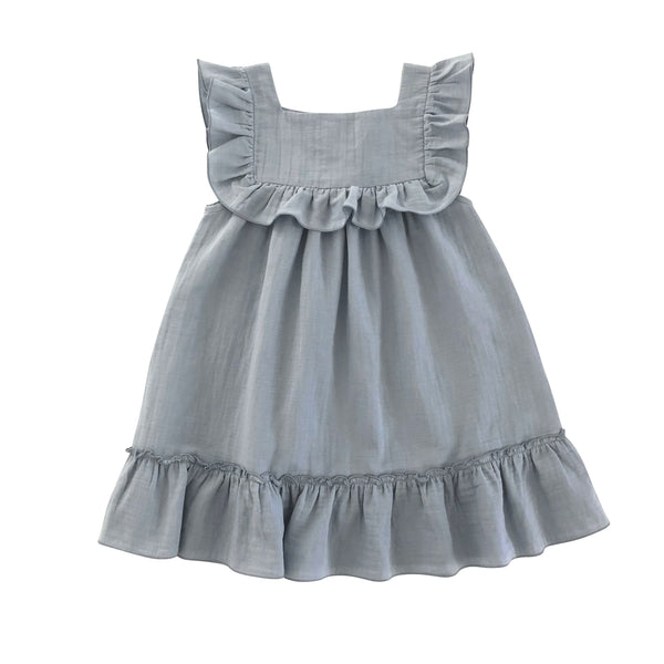 lina dress from liilu organic dusty blue with white string