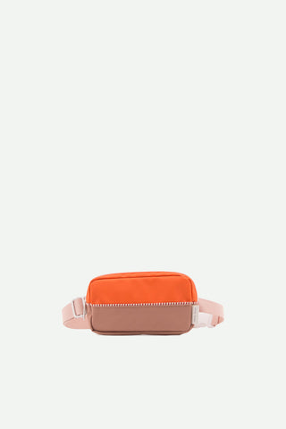 sticky lemon fanny pack orange and brown with pink strap riñonera