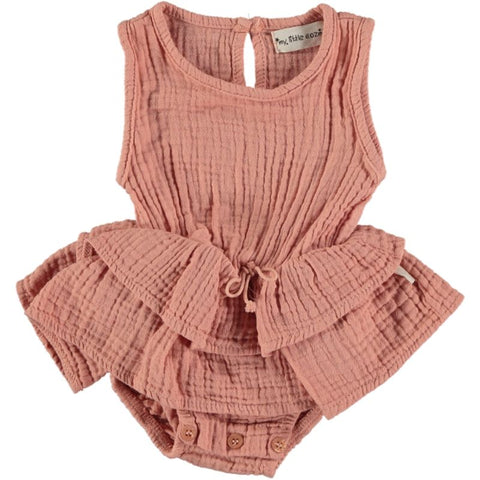 my little cozmo romper dress peach color with skirt