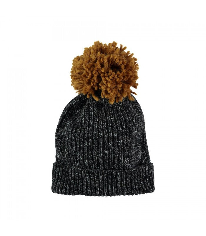 aspen hat from buho in grey with mustard pom pom