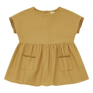 buho lucia dress mustard in cotton