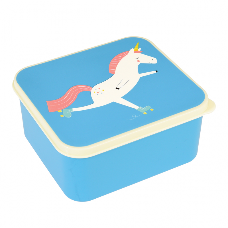 unicorn lunch box rex london blue pink and white