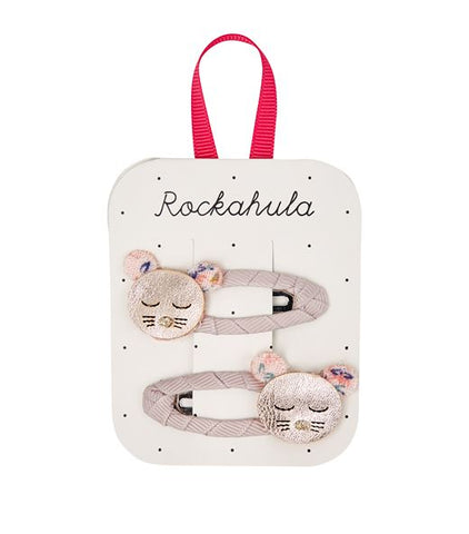 rockahula martha mouse hair clips pink with sleepy mouse