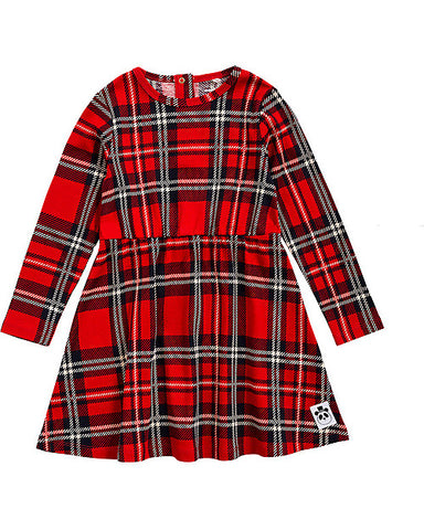 Red Plaid Long Sleeves Dress