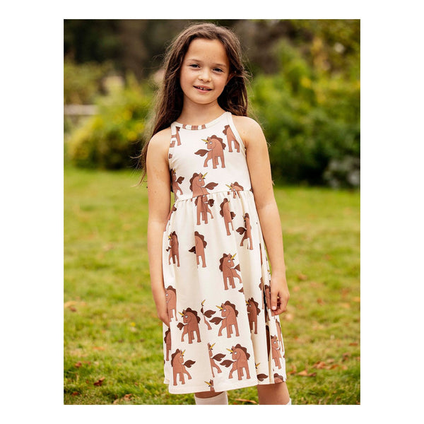 unicorns tank dress summer collection diana 2020 mini rodini brown unicorns off white