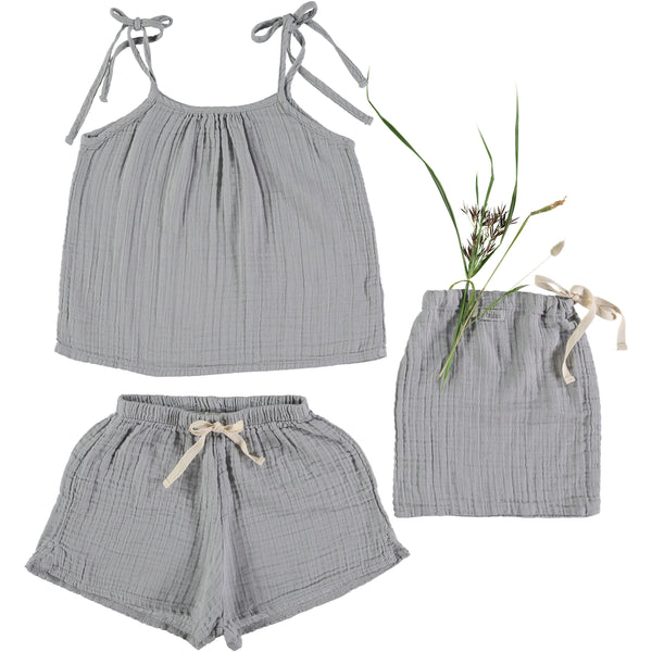 Pipa Pyjama set in grey color 100% cotton from Buho Barcelona
