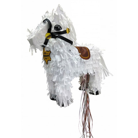 tim & puce piñata cow boy white horse brown and black