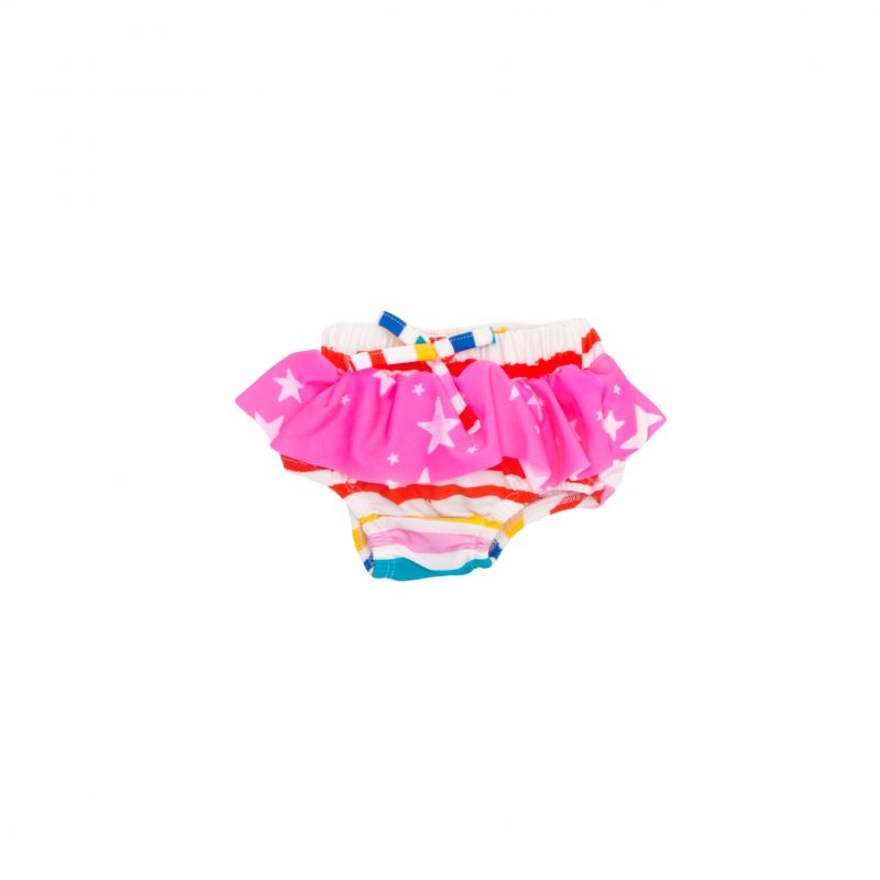 The coolest bloomer from Noé & Zoë Berlin available at KONFETTI kids, the shop for kids in Barcelona. Baby swimming trunks with elastic band in waist and leg openings and ruffles all around. En KONFETTI kids la tienda para niños en Barcelona