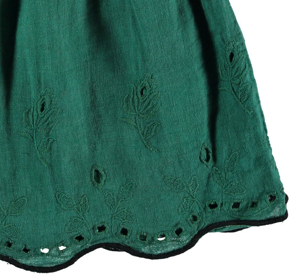 gina linen embroidery dress in green  from buho barcelona