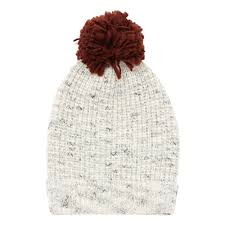 aspen beanie from Buho in ecru and red pom pom