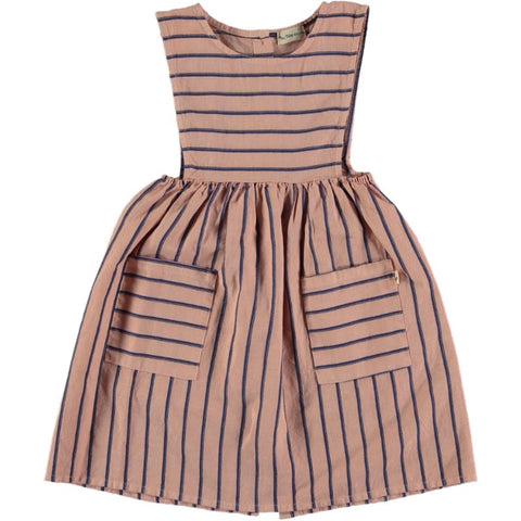 my little cozmo mei peach dress baby dress provence peach with blue stripes