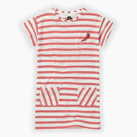 sproet & Sprout stripes t-shirt dress red and white with red pepper