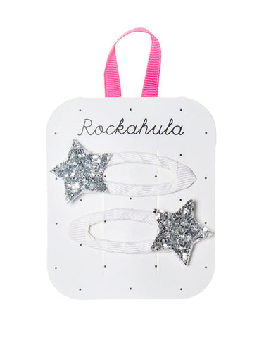 With Rockahula wear the stars in your hair with our dazzling star clips, featuring a single glitter star secured to a grosgrain ribbon wrapped clip.