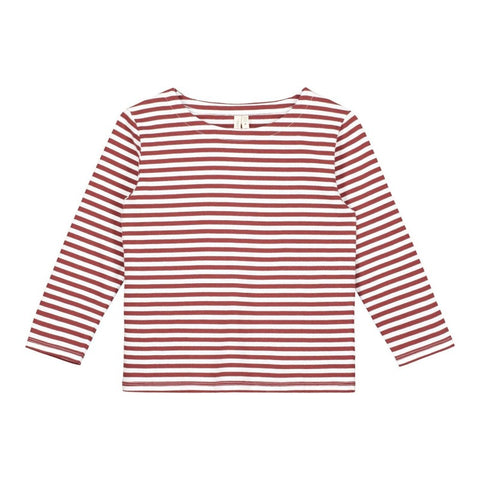 Striped Tee, Burgundy, Gray Label