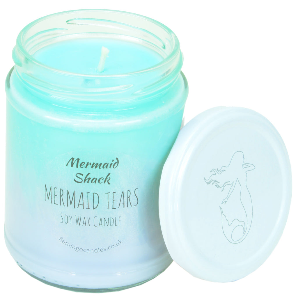 Flamingo Candles ~ Mermaid Tears Turquoise/Purple Ombre Candle