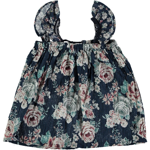 tocoto vintage flowers dress baby blue with roses