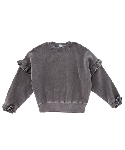oversize sweater from rocoto vintage in grey with flounces