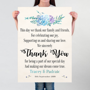 hydrangea thank you wedding poster the little post box
