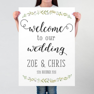 botanical wedding poster welcome to our wedding the little post box