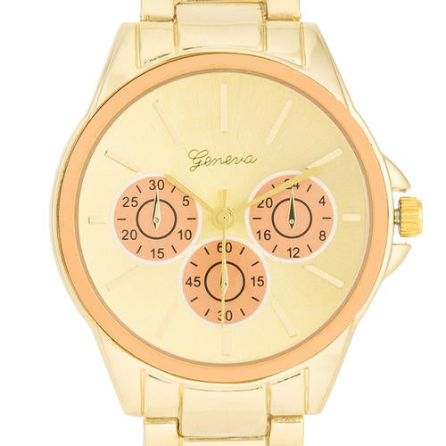 Chrono Gold Metal Watch - TW-13668-PEACH