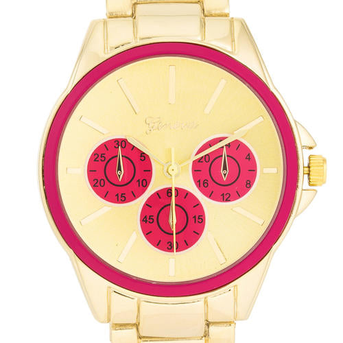 Chrono Gold Metal Watch - TW-13668-PINK