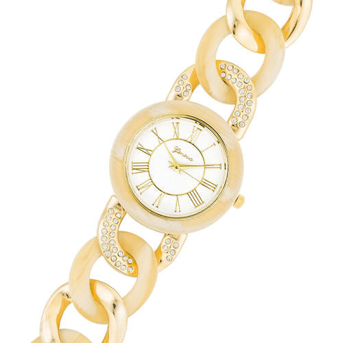 Gold Link Watch with Crystals - TW-15263-BONE